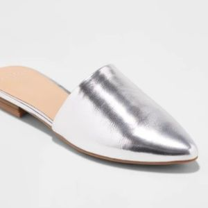 A New Day Junebug Backless Mules in Silver